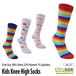 🧦 Children / Kids Knee High Cotton Socks (Free size without back heel turn that fits all ages)👫 🧦
