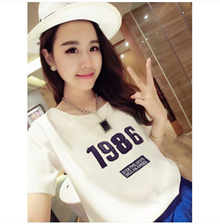 Summer Korean student girlfriends fitted white short-sleeved t-shirt Women yards was thin loose short-sleeve T-shirt compassionate tide