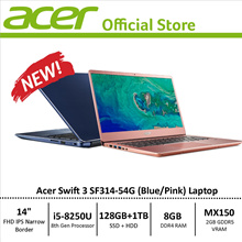 Acer Swift 3 SF314-54G Narrow Bezel Design Laptop - 8th Gen i5 Processor with Graphics Card