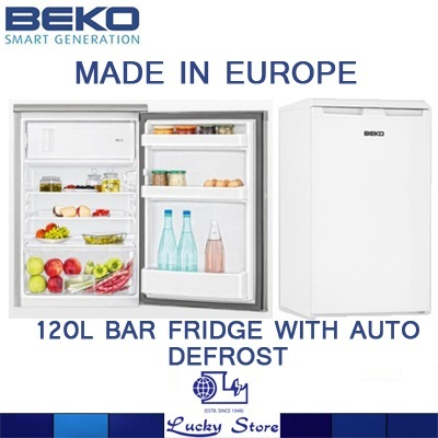 Beko 1 Door Bar Fridge 120l Capacity Auto Defrost White Stanless Steel