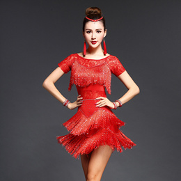 Sexy Red Tango Dress Salsa Latin Dance Dress Women Lace Fringe Ballroom Dance Competition Dresses Fo
