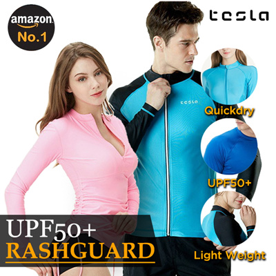 a0d3bb5ef8a Tesla® Rashguard © UPF50+ Swimwear / Excellent Elasticity Ventilation and  Breathability / Quick Dry /