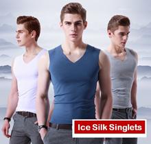 Men Cooling Ice Silk Singlets Man Quick Dry Tanks Vests Sleeveless T Shirts