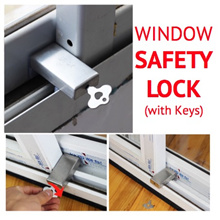 [SG] Child Safety Sliding Window Lock - Stainless Steel slide door catch - prevents knocks