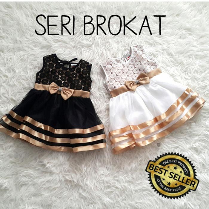 Baju Dress Pesta Kondangan Anak Bayi Perempuan Gold