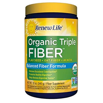 Renew Life - Organic Triple Fiber powder - constipation relief - digestive  health - 12 ounces