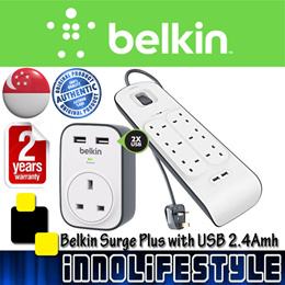 ★Free Shipping★ Belkin Surge Protector with 2 USB Port ★2 Years Belkin Warranty★