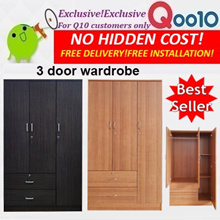 New Arrival 3 door Wardrobe with 2 drawer outside.Walnut or Cherry.Free delivery+installation