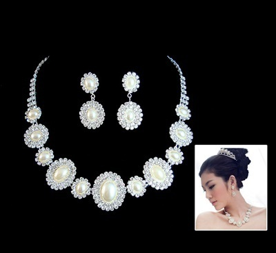 Wedding Accessories Bridal Jewelry Set Crown Necklace Earring Singapore Seller