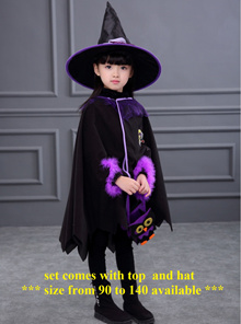 Haloween Costumes Children Party Dress Witch Bat Princess Magic Hat
