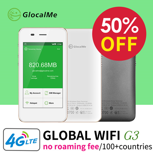 ?May1 Super Sale?GlocalMe Portable WiFi Hotspot 4G Wireless Mobile Travel Pocket Mifi Router SimFree Deals for only RM4.04 instead of RM8