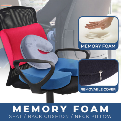 Office Car Seat Cushion Posture Correction Back Support Cushion Memory Foam Seat Neck Pillow