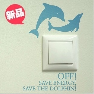 [US$2 90](▼52%)Wall Stickers - Dolphins Switch Sticker - living room suite  decorated childrens room wall stickers a