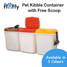 Pet Kibble Airtight Container with Free Scoop / 32L 4L Pet Food Storage / Dog / Cat / Puppy / Kitten