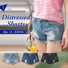OB CLUB ★ OBDESIGN ★ ORANGEBEAR ★ CLASSIC DISTRESSED DENIM SHORTS  ★ S-XXXXL SIZE ★ PLUS SIZE ★ VARIOUS COLOR ★ OFFICE ★ TRAVEL ★ WEEKEND ★ HOLIDAY ★ WORK ★ CASUAL ★ COMFY