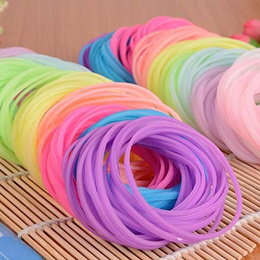 10Pcs Fashion Rainbow Silicone Gel Bracelet / Neon Color Rubber Bands Bracelet / Hairband Rope Night