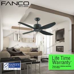 ★★ FANCO i-Con ★★ Ceiling Fan 48 inch. Local LIFE TIME Warranty by fanco Aluminum Motor. Comes with remote control wall regulator LED Lights. WH MS GM AB Singapore Safety Mark