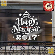 (S/M)Happy New Year Christmas Wall Stickers Glass Stickers Glass Stickers KFC Bar Restaurant Company