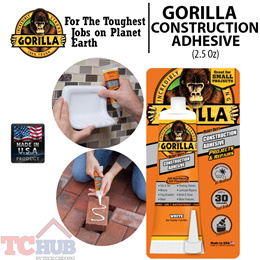 Gorilla Construction Adhesive (2.5 Oz). Made in USA! Weather-Proof and No Caulking Gun Needed