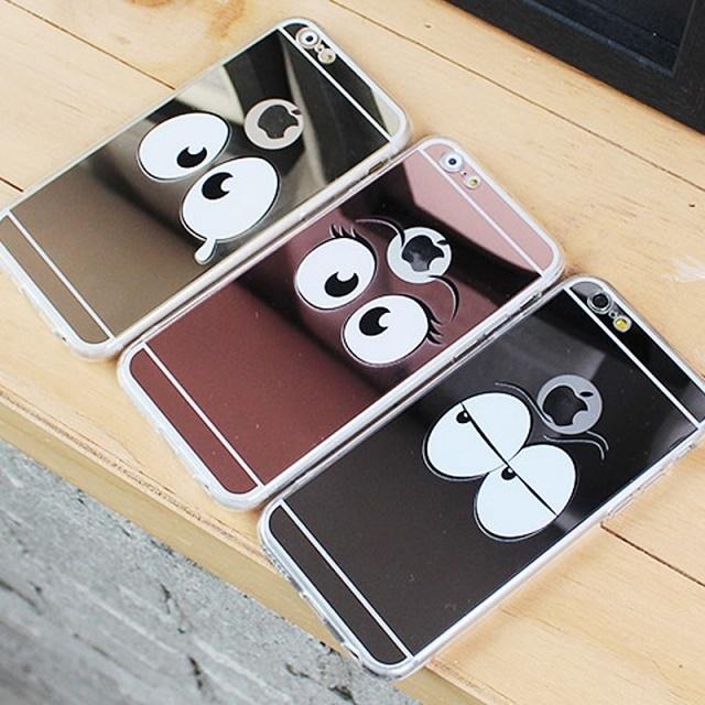 online retailer c957b 4f87c Cute Emoticons Mirror Jelly Case Unique Mirror Couple Unusual iPhone 8 Plus