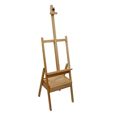 [US ART SUPPLY] E-389 - Studio H-Frame Wood Artist Painting Floor Easel  with Storage Drawer