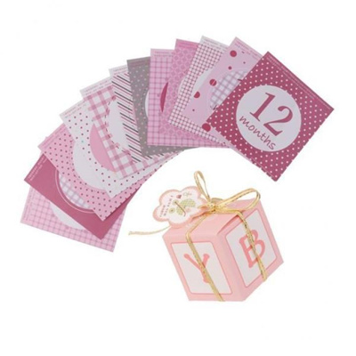 24pcs Set Baby Girls 1 12 Monthly Sticker And Candy Gift Boxes Baby Shower