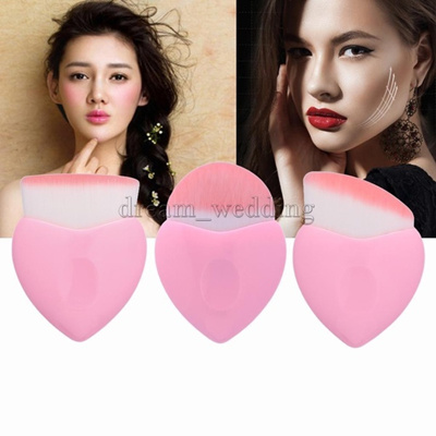 2017 Tampan Fashion Wanita Baru Wanita Kosmetik Pink Green Heart Shape Makeup Brush Set Foundation B