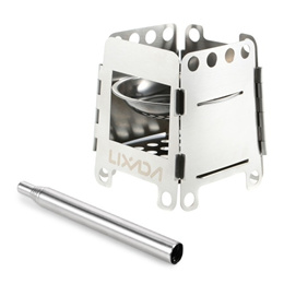 Lixada Portable Stainless Steel Lightweight Folding Wood Stove Pocket Alcohol Stove with Collapsible