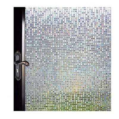 MUWENTY Decorative Window Film Privacy, Stained Glass Non Adhesive 3D  Window Tint Mosaic Square Desi