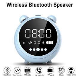 Wireless Bluetooth Speaker with Alarm Clock FM Radio Phone Stand TF Card USB Flash Play