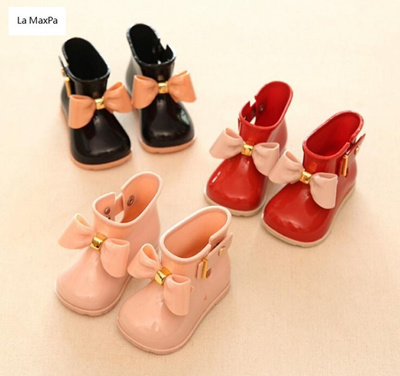 79c8a4468 La MaxPa Kids Boots Baby Girls Jelly Cute Bowknot Rain Shoes Red/Pink/Black