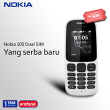 [BEST SELLER] Handphone  Nokia 105 dual SIM -The all new- | 1 Year Warranty - White Only