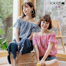 TOKICHOI - Check Print Off-Shoulder Top-181143