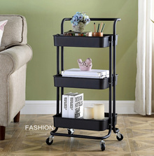 Multi-Purpose Movable Trolley with Handle Bar kitchen Storage Rack Baby Diaper Storage