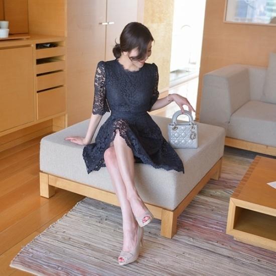 悪女日記】リボアワンピース5577 シフォン/レースのワンピース/ 韓国ファッション