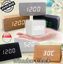 ★SG Seller★ Wooden Digital Alarm Clock with Temperature Date Month Thermometer Wood Table Big Numbers LED Display ★ Battery / DC Input ★ Light  Voice Sensor ★ Triangle / Square / Rectangle Shape★
