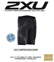 2XU LOCK Compression Shorts Mens Black/Nero. FREE SHIPPING!!!