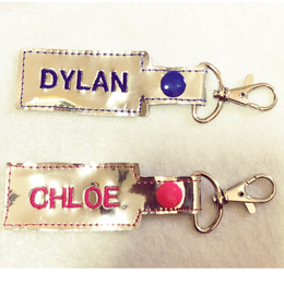 Vinyl keychains with customise personalise names / all occasions gifts birthday goody bag label
