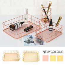 NEW! ROSE GOLD Desk Organiser/ Copper/A4 Magazine Pencil Holder/Paper Tray/Fruit Wire Basket