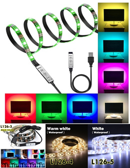 Waterproof Flexible USB LED Strip Lights TV Background Lighting Battery Powered Multi-Colour