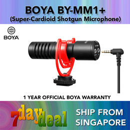 BOYA BY-MM1+ Super-Cardioid Condenser Shotgun Microphone (For Mobile Devices Smartphone DSLRs PC)