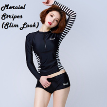 Merciel Stripes 2pc Set Slim Look Rashguard Women Swimming Wear Women Swimwear