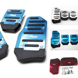 2Pcs Car Brake Pedals Aluminum Non-Slip Automatic Car Brake Accelerator Pedal Pad Cover Set Red/Blue