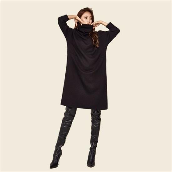 クムチダブルラック行き来するようにクムチタートルネックワイドノルウェーワンピース 塔/袖なしのワンピース/ 韓国ファッション