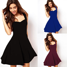 997f1578ff factory Sexy Women Summer Strappy Dress Casual Sleeveless Solid Elegant  Dress New Arrival Party Even