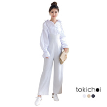 TOKICHOI - Striped Jumpsuit with Ruched Back-180870
