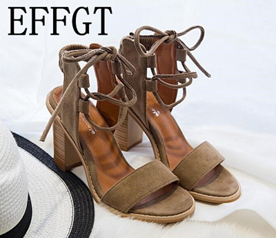 52818472c factory EFFGT 2018 NEW Sexy Women Pumps Open Toe Lace up Heels Sandals  Woman sandals Thick
