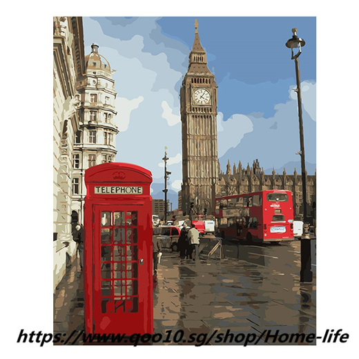 [S$33.60](▼42%)London City Painting By Numbers Modern Big Ben Digital Wall canvas Art booth Coloring by number For