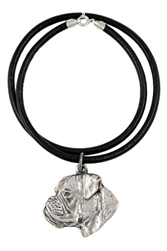 (Art Dog Ltd ) Boxer (Uncropped¬ Cut), Silver Hallmark 925, Dog Silver  Necklaces, Limited Edition