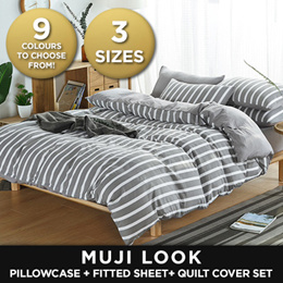 MUJI STYLE Bedsheet Washed Cotton Linen - Quilt Cover Set + Pillowcase + Fitted Sheet